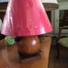Lampe bois rouge